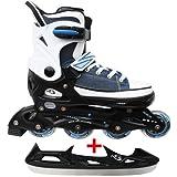 Cox Swain Sneak Kinder Inline Skates & Kinder Schlittschuh 2 in 1 - größenverstellbar ABEC5, Colour: blue, Size: M (37-40)