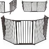 KIDUKU Kaminschutzgitter Metall Laufgitter Laufstall Absperrgitter Türschutzgitter für Kinder-Sicherung, 300 cm Länge, schwarz