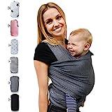 Fastique Kids Babytragetuch - elastisches Tragetuch für Früh- und Neugeborene Kleinkinder - inkl. Baby Wrap Carrier Anleitung - Farbe grau