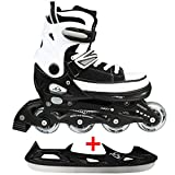 Cox Swain Sneak Kinder Inline Skates & Kinder Schlittschuh 2 in 1 - größenverstellbar ABEC5, schwarz, S (33-36)