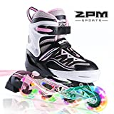 2PM SPORTS Cytia Inliner für Kinder Verstellbar, Led Inline Skates Mädchen,Rollschuhe leuchten für Damen/Mädchen/Herren - Pink M(32-35EU)
